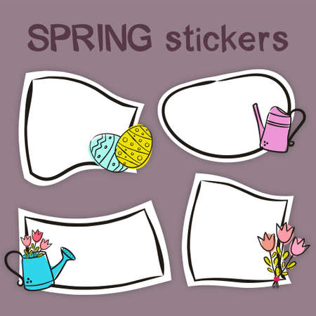 Set of hand drawn spring labels in cartoon style. Bright seasons stickers for youth products. Badges and tags for packaging. Vector illustration 일러스트