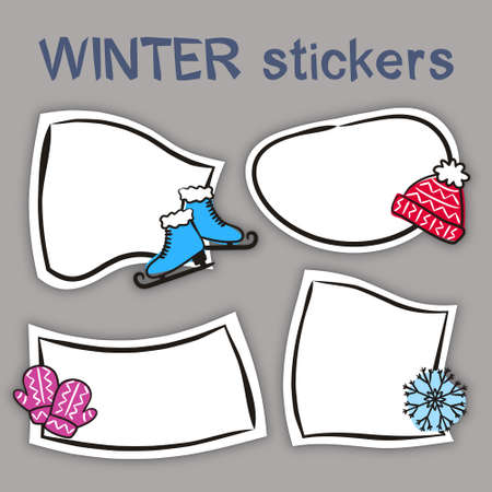 Set of hand drawn winter labels in cartoon style. Bright seasons stickers for youth products. Badges and tags for packaging. Vector illustration 일러스트