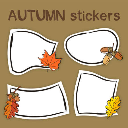 Set of hand drawn autumn labels in cartoon style. Bright seasons stickers for youth products. Badges and tags for packaging. Vector illustration