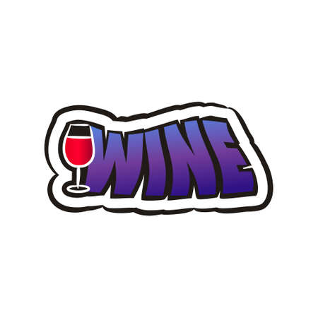 Comic wine logo sticker. Emotions badge in pop art style. Cartoon logotype with a glass of red wine for cafe, bar, menu, restaurant. Isolated Vector illustration 矢量图像