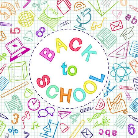 Back to School color text written in round frame. Blank for school banner, presentation, template. Education vector illustration. Multicolored Doodle school icons.