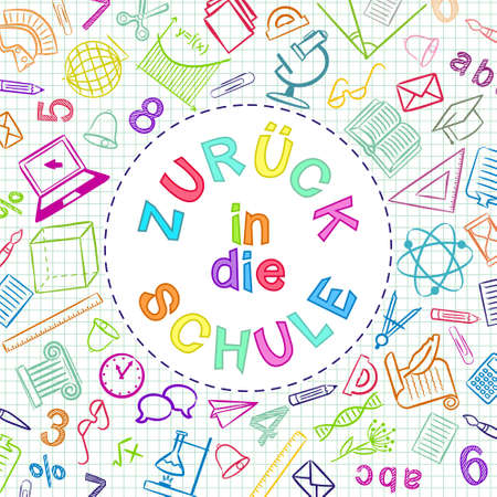 German Back to School color text written in round frame. Blank for school banner, presentation, template. Education vector illustration. Multicolored Doodle school icons. Translation: Back to School 일러스트