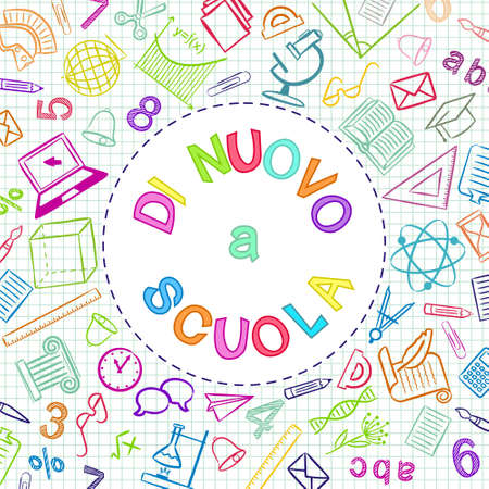Italian Back to School color text written in round frame. Blank for school banner, presentation, template. Education vector illustration. Colored Doodle school icons. Translation: Back to School 일러스트