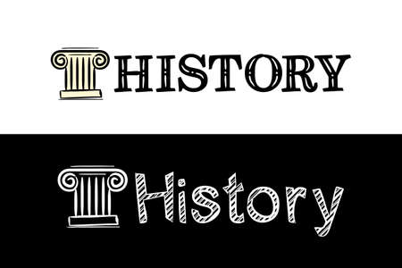 Logo for the History school subject. Hand-drawn icon of greek column with title. History emblem in chalk style on a black chalkboard. Vector illustration for poster, banner or education project.