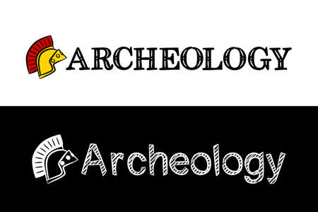 Logo for the archeology. Hand-drawn icon of ancient helmet with title. Archeology emblem in chalk style on a black chalkboard. Vector illustration for poster, banner or education project.