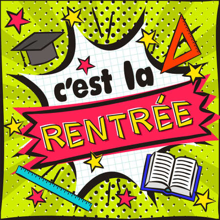 French Back to School Bright banner in the style of popart. Vector Illustration