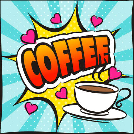 Bright picture on the theme of coffee in the style of pop art. Template for a poster or banner. Square web banner for social media post template. Vector illustration, vintage design. Ilustración de vector