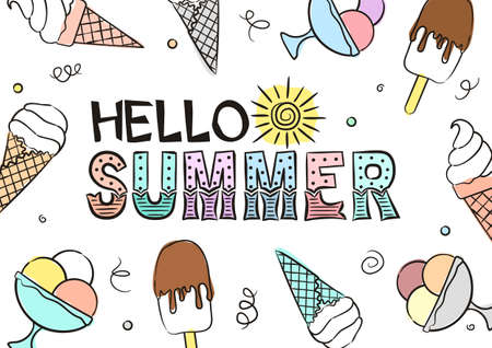 Hello summer lettering with hand-drawn ice cream. Cute summer card or banner for kids party. Illustration isolated on white background. Doodle style Vetores