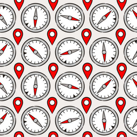 Seamless pattern with travel geographic elements. Background with hand drawn compasses and navigation pointer. Vector illustration for route projects and journey.