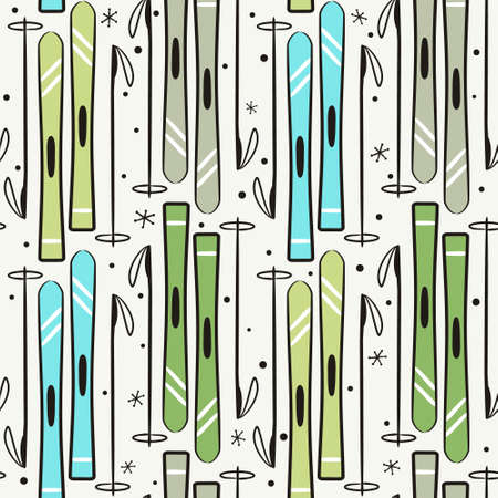 Seamless winter pattern. Sports background with hand-drawn skis and snowflakes.