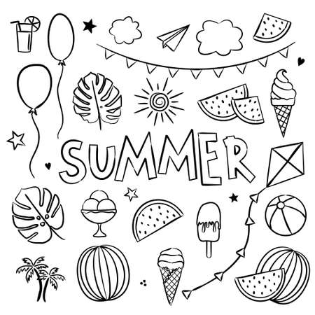 Summer coloring. Elements for seasonal calendar. Hand-drawn doodle objects isolated on white background. Vector illustration for yearbooks and calendars. Çizim