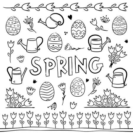 Spring coloring. Elements for seasonal calendar. Hand-drawn doodle objects isolated on white background. Vector illustration for yearbooks and calendars.