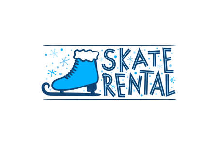 Hand Drawn Skate Rental isolated on white background. Winter equipment emblem for stickers and badges. Vector illustration for sports and rental projects.