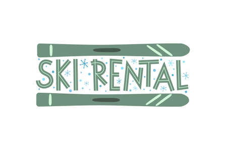 Hand Drawn Ski Rental icon isolated on white background. Winter equipment emblem for stickers and badges.