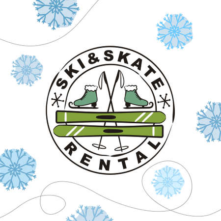 Hand Drawn Skate and Ski Rental Icon in stamp isolated on white background. Winter equipment emblem for stickers and badges.