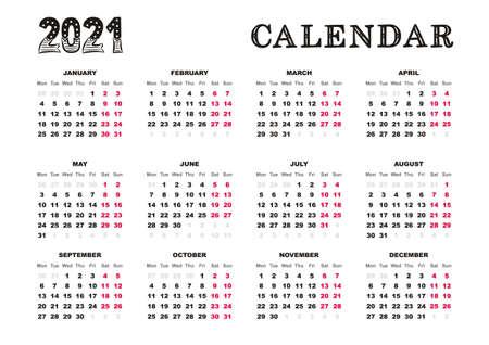 Landscape Calendar 2021 template.