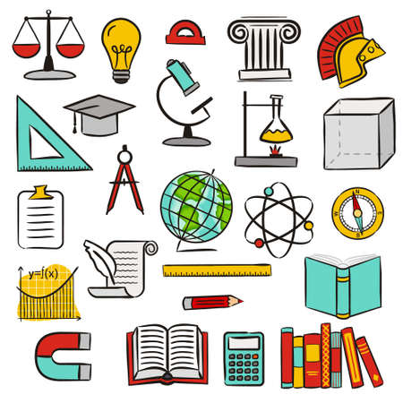 Set of hand drawn isolated educational icons. Pictograms of an open book, globe, physics, geography, history, math, literature. Vector illustration on the theme of School, teaching, online learning