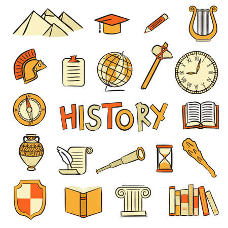 Set of hand drawn isolated History icons. Pictograms of an open book, Greek column, Roman helmet, amphora, scroll, hourglass. Vector illustration on the theme of archeology and education.