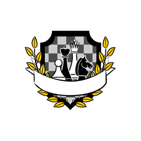 Chess emblem with shield, ribbon for text and laurel wreath. Chess club or competition. Vector illustration for sporting events
