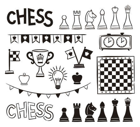 Set of hand drawn chess pieces, pieces, board, cup, flags. Black and white isolated icons for the design of sports projects and competitions. Vector illustration.