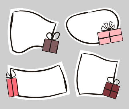 Set of hand drawn white labels with gifts in cartoon style. Festive stickers for youth present, products, sale or promotion. Badges and tags for packaging. Vector illustration Stock Illustratie