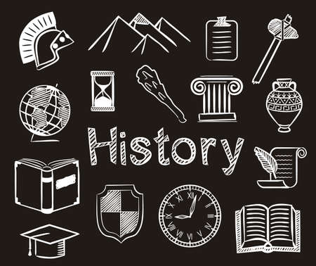 Set of chalk hand-drawn icons on the theme of History. Pictograms of book, pyramids, globe, clock, helmet and other ancient items on blackboard. Vector illustration for school and education projects.