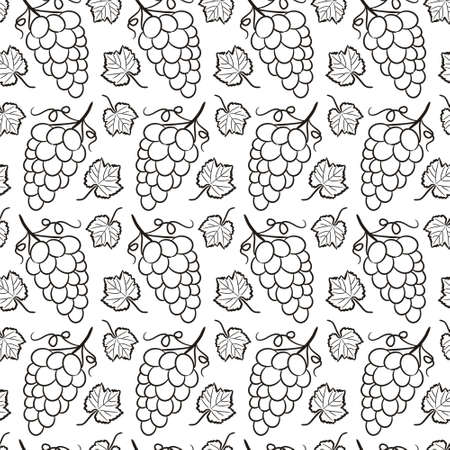 Seamless pattern of hand drawn grape leaves and bunches. Black-white contour graphics. Vector illustration for winery, restaurant, bar.