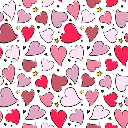 Seamless pattern of hand drawn hearts and stars. Pink and red hearts on white background. Template on the theme of love, weddings and Valentine's Day. Vector illustration