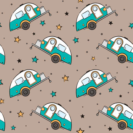 Seamless pattern of Hand-drawn caravan trailer and stars. Retro campers. Vector illustration on the theme of travel, caravanning, camping, hiking and motorhomes.