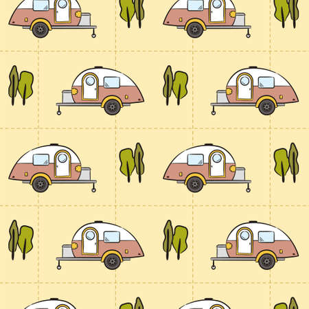 Seamless pattern of Hand-drawn caravan trailer and trees. Retro campers. Vector illustration on the theme of travel, caravanning, camping, hiking and motorhomes.