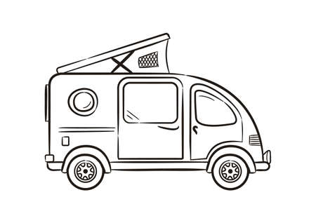 Hand-drawn minivan with lifting roof. Motorhome isolated on white background. Contour Vector illustration on the theme of travel, caravanning, camping, hiking and motorhomes.