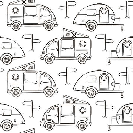 Seamless pattern of Hand-drawn caravan trailer and minivans. Black and white Retro campers for coloring. Contour Vector illustration on the theme of travel, caravanning, camping, hiking, motorhomes.