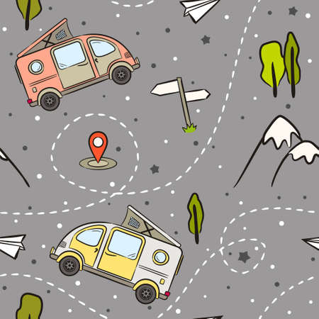 Seamless pattern of Hand-drawn minivans, mountains and trees. Retro bus. Vector illustration on the theme of travel, caravanning, camping, hiking and motorhomes.