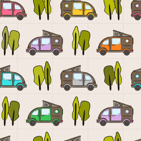 Seamless kids pattern of Hand-drawn multicolored minivans and trees. Retro bus. Vector illustration on the theme of travel, caravanning, camping, hiking and motorhomes.