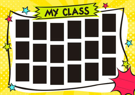 School Children's photo frame in pop art style. Bright page for class photos. Template for the design of frames for photographs, posters, cards, stickers. Vector illustration.