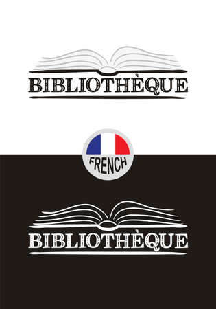Library design for France. Hand-drawn icon of an opened book. Library emblem in chalk style on a black chalkboard. Vector illustration for poster, banner or app design.