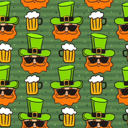 Seamless pattern on the theme of St. Patrick's Day. Green background with hand drawn leprechaun and beer. Template for the design of posters, cards and paraphernalia. Vector illustration