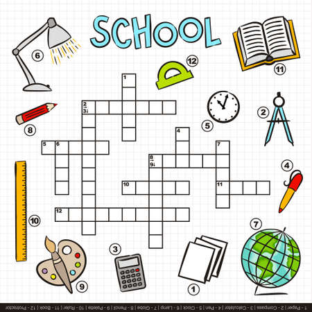 School crossword for kids. Children's game with cartoon elements. Book, lamp, ruler, globe, palette, clock and other. Vector illustration