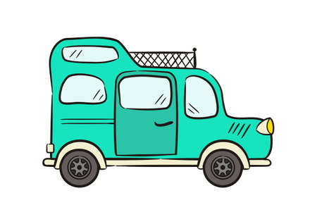 Hand drawn Turquoise minivan with roof rack. Motorhome isolated on white background. Doodle Vector illustration on the theme of travel, caravanning, camping, hiking and motorhomes. Vettoriali