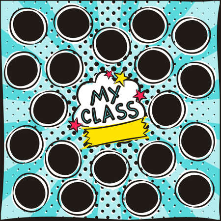 School Children's photo frame in pop art style. Bright page for class photos. Template for the design of frames for Kindergarten, photographs, posters, cards, stickers. Vector illustration.