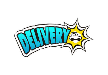 Pop art Logo For delivery service. Hand drawn icon of car with title. Cartoon cargo emblem. Vector illustration for sticker, badge, poster, banner or fast courier.