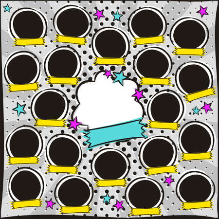 Photo frame for group photos of children in pop art style. A photo album for a graduating class or community. Vector Template for the design of frames for Kindergarten, photographs, posters, cards. Vecteurs