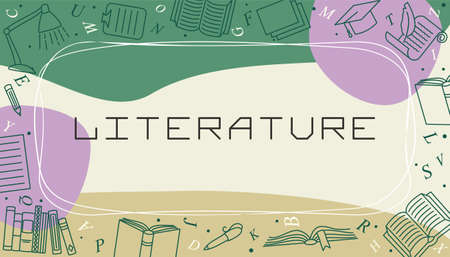 Vector design templates for Literature in simple modern style with line school elements. Cover for a tutorial, banner, poster, presentation, splash screen, or project.