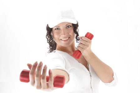 lovely fitness instructor with dumbbells over white Stock Photo - 5444126