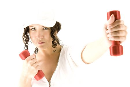 girl with red dumbbell on white background Stock Photo - 5454737