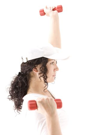 Woman on white holding red  dumbbells Stock Photo - 5467072