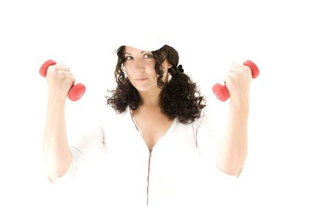 woman  with red  dumbbells on a white background Stock Photo - 5467069