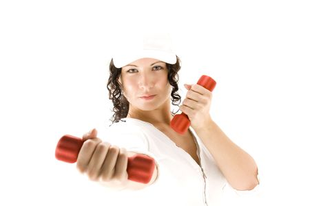 woman  with red  dumbbells on a white background photo