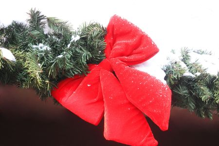 Christmas tree and red bow photo