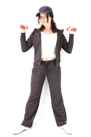 Woman on black  holding red  dumbbells  photo